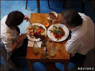 Pareja en restaurante vegetariano de Buenos Aires