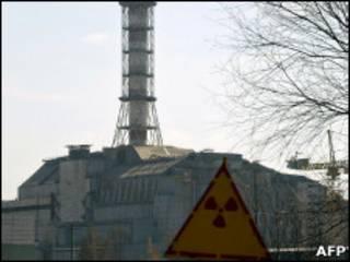 Чернобыльский реактор под саркофагом