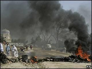 Manifestantes no Paquistão