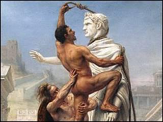 Pintura representando el saqueo de Roma