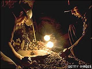 Mineros peruanos.