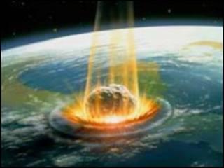 تصویر خیالی از برخورد شهاب سنگی به زمین