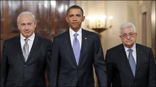 बराक ओबामा, बिन्यामिन नेतन्याहू (बाएँ) और महमूद अब्बास के साथ
