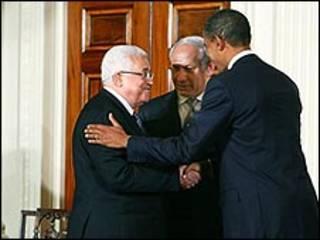Shugaba Obama da shugabannin Isra'ila da Falasdinu