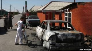 Последствия атаки боевиков на Центорой 29 августа 2010 г.