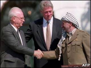 Ytzhak Rabin, Bill Clinton, Yasser Arafat