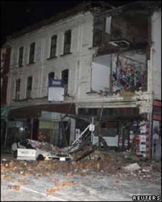 Prédio destruído em Christchurch