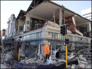 Destruição no centro Christchurch, na Nova Zelândia