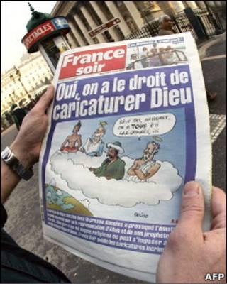 Перепечатанные France Soir карикатуры на пророка