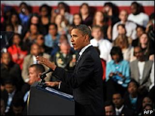O presidente dos Estados Unidos, Barack Obama, faz discurso em Cleveland  (AFP/Getty)