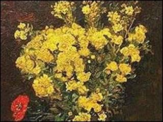 """تابلوی """"گلهای خشخاش با گلدان سفید"""" اثر وان گوگ"""