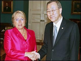 Michelle Bachelet iyo Banki Moon