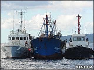「閩晉漁5179」號被日本海上保安廳船艇拖到石垣島海域接受調查(新華社圖片12/9/2010)