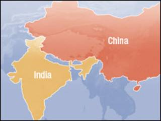 नेपाल, भारत, चीनको नक्सा