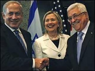 Shugabannin Isra'ila da Falasdinawa tare da Hillary Clinton