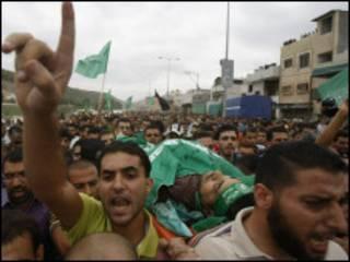 تشييع جنازة احد قادة حماس اغتالته اسرائيل