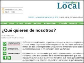 Editorial na página do jornal El Diario