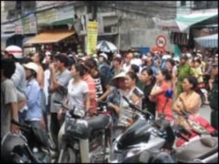 TTại hiện trường vụ án mạng (ảnh của báo Tiền Phong)