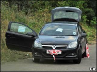 O carro onde os corpos foram encontrados