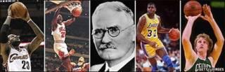 Foto compuesta con estrellas del baloncesto y su creador