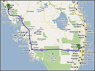Toma de Google Maps en la que se indica la ubicación real de la ciudad de Sunrise (dcha.) y la errónea (izquda.) a la que los usuarios fueron conducidos durante casi dos meses.