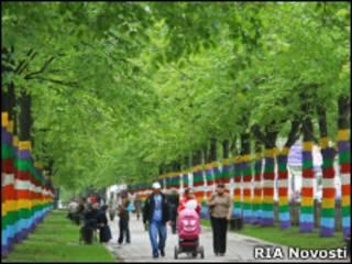 Аллея Комсомольского проспекта в Перми