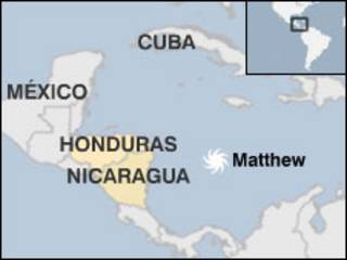 Mapa de la situación de Matthew