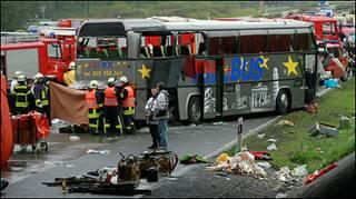 كانت الحافلة السياحية متوجهة الى بولندا بعد جولة سياحية في اسبانيا