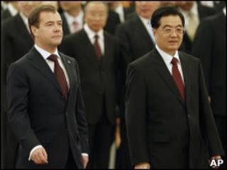 Торжественная встреча президента Медведева в Пекине