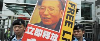 Poster pidiendo la libertad de Liu Xiaobo