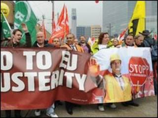 تظاهرکنندگان در بروکسل