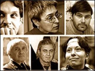 Фотографии убитых российских журналистов (фото сайта Комитета защиты журналистов cpj.com)