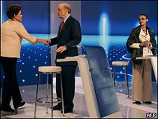 De izquierda a derecha, Dilma Rousseff, José Serra y Marina Silva