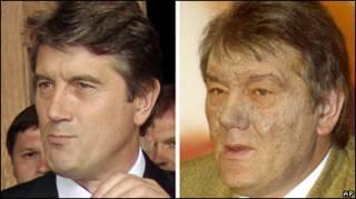 Віктор Ющенко до і після отруєння 6 років тому