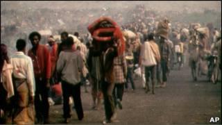 Impunzi z'abahutu mu nkambi ya Kibumba muri 1994