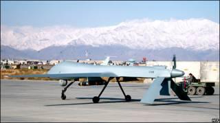 هواپیمای بدون سرنشین آمریکا در پایگاه هوایی بگرام در افغانستان