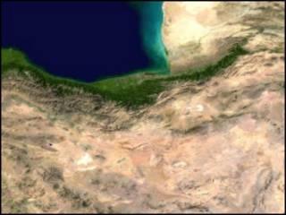عکس فضایی از بخشی از ایران و خزر که سمنان در آن قرار دارد