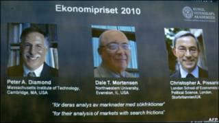 پیتر دیاموند و دیل مورتنسن، اقتصاددانان آمریکایی، و کریستوفر پیساریدیس، اقتصاددان قبرسی تبار بریتانیایی