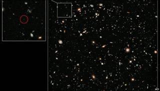 Imagen de la galaxia UDFy-38135539 captada por el telescopio Hubble
