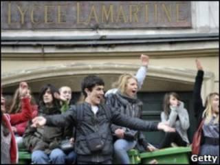 Французские студенты на демонстрации