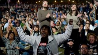 هواداران باراک اوباما پس از پیروزی او در انتخابات