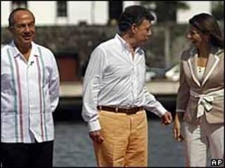 Felipe Calderón, presidente de México, Juan Manuel Santos, presidente de Colombia y  Laura Chinchilla, presidenta de Costa Rica
