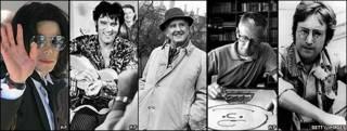 Michael Jackson, Elvis Presley, JRR Tolkien, Charles Schulz, John Lennon
