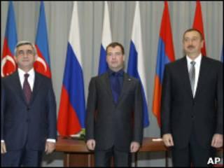 Серж Сакрисян, Дмитрий Медведев и Ильхам Алиев