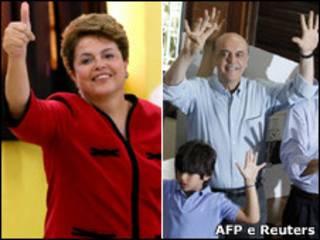 Dilma e Serra votam no segundo turno eleitoral (Fotos: AFP e Reuters)