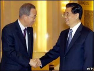 Hai ông Ban Ki-moon và Hồ Cẩm Đào