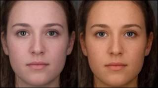 同一位女性的脸部肤色比较