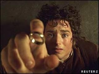 """El actor Elijah Wood que interpreta a Hobbit Frodo en la película """"El señor de los anillos"""""""