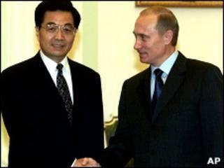 Путин и Ху Цзиньтао в 2001 году