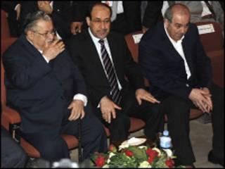 المالكي وعلاوي والطالباني